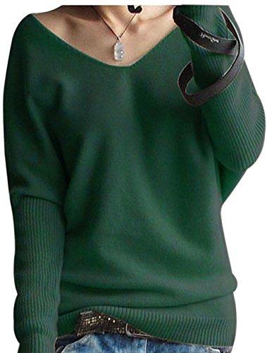 LinyXin Cashmere Damen Winter Kaschmir übergroße Pullover lose V-Neck Fledermausärmel Warm Gestrickter Oversize Pullover aus Wolle (M / 46-54, Grün)