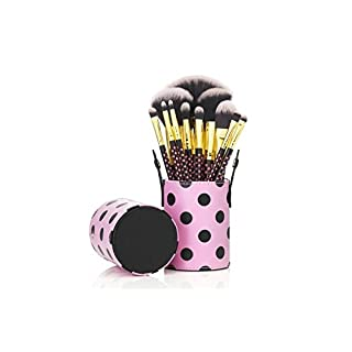 12 Bilden Topfbürsten-Sets - 2-Farben Synthetic Hating, Gold Aluminium Hülse, Naturholzgriff , Leder-Cup - polka dot pink [ARTUROLUDWIG]