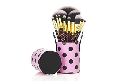 Ensemble 12 Maquillage Brosses - Cheveux Synthétiques En 2 Couleurs, Gold Aluminium Embout, Poignée De Bois Naturel, Coupe Étui De Cuir - polka dot pi by CASCACAVELLE