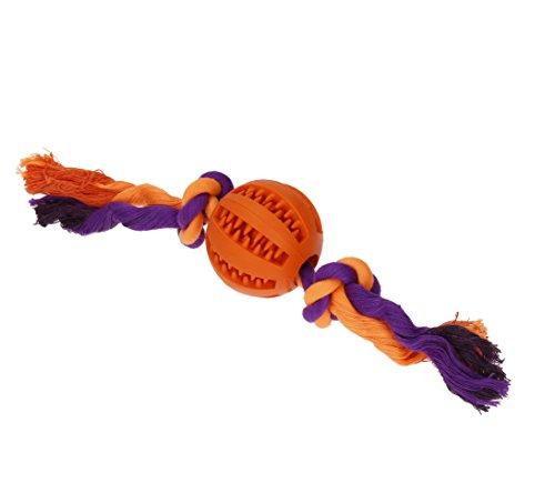 Playfulspirit Fun Treat Ball gomma con corda, perfetto cane giocattolo per cuccioli e cani adulti per pulizia dei denti e gengive per massaggi, Great Simple esercizio e Fetch Ball, Awesome Puppy training ricompensa