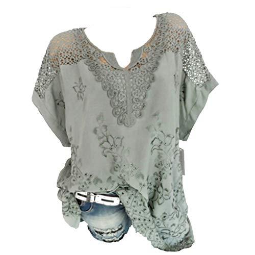 TOPSELD T Shirt Damen, Frauen-Sommer O-Ausschnitt Kurzarm AushöHlen Feste BeiläUfige,Blusen Spitzen T-Shirt (Bane Kostüm Mantel)