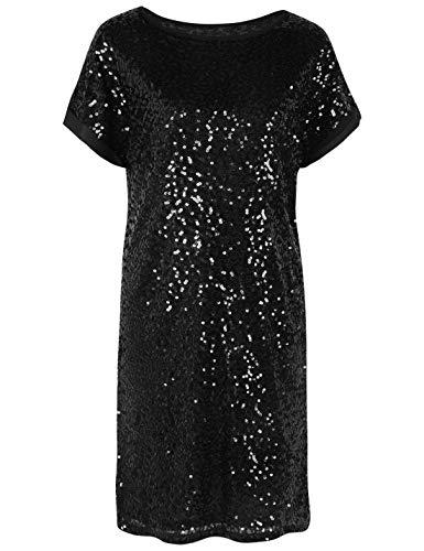 PrettyGuide Damen Pailletten Kleid Lose Glitter Dolman Hülse Partykleider Club Kleid XL ()