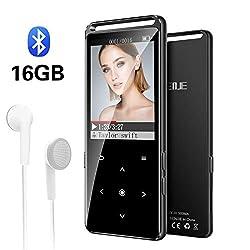 MP3 Player, BENJIE 16GB Bluetooth HiFi Verlustfreier Sound Musikspieler, FM Radio, Voice Recorder mit Kopfhörern, Video Abspielen Schaltfläche Berühren Music Speaker, Unterstützt bis zu 128 GB