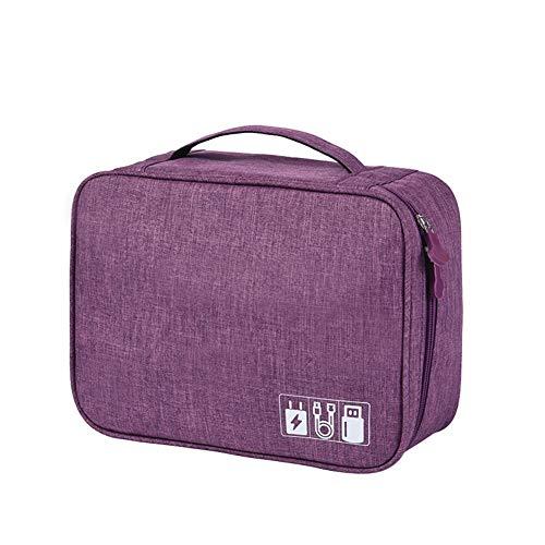 YuYaX Home Tragbare Reise-Kabel-Organizer-Tasche Elektronik-Zubehör Aufbewahrungskoffer, Ladegerät, Adapter, Festplatten, Purple