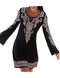 Vestido de Playa Mujer,Modaworld Vestido Largo de Playa con Estampado de Boho de Manga Larga para Mujer Vestido Casual…
