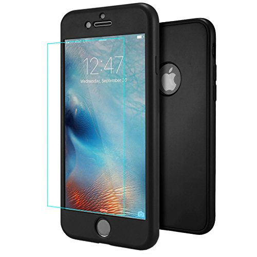 Cover iPhone 6 6S Nero , ivencase Custodia iPhone 6S Ultra Sottile 3 in 1 Design Front Cover & Indietro Caso & Vetro Film Silicone Gel Case Con ...