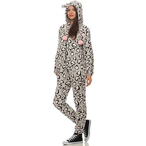 88Q1 LBB Damen Jumpsuit Einteiler Overall Tier Anzug Leopard Herz Gr ()
