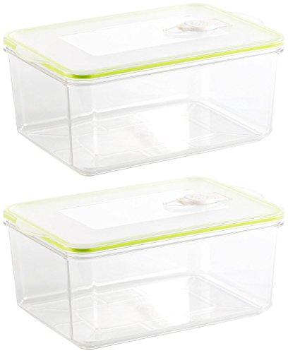 Rosenstein & Söhne Vakuum-Vorratsdose: Vakuumier-Box mit Deckel f. Handvakuumierer, 2,6 L, 25x16,5 cm,2erSet (Vakuum-Frischhalteboxen)