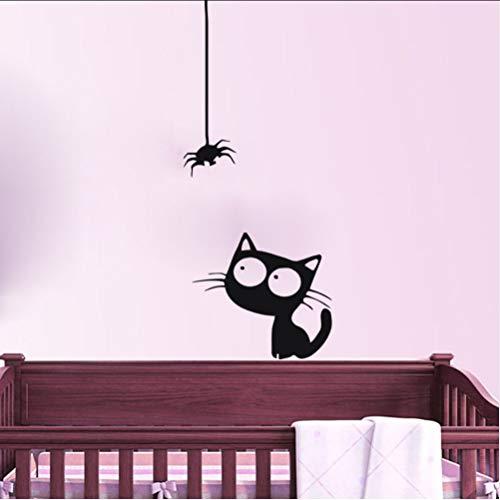 Zlxzlx Niedliche Kätzchen Beobachten Eine Spinne Wandaufkleber Baby Zimmer Vinyl Abnehmbare Wandtattoos Wasserdichte Kunst Aufkleber Home Decor 105 * 44Cm (Kleine Kätzchen Beobachten)