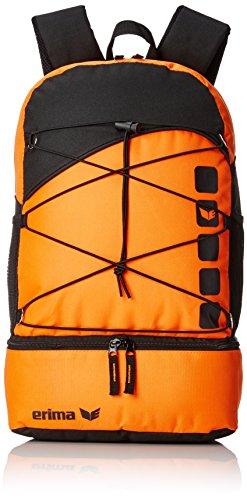 erima Tasche Multifunktionsrucksack mit Bodenfach, Orange/Schwarz, 48.5 x 36 x 3.5 cm, 16 Liter, 723365