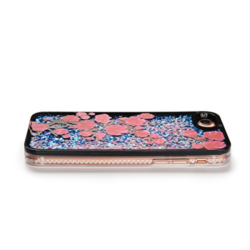 Cover iPhone 7 Custodia iPhone 7 Liquido Anfire Trasparente Rigida Duro Plastica PC Case per Apple iPhone 7 (4.7 Pollici) Sabbie Mobili Shell 3D Bling Glitter Floating Quicksand Copertura Hard Shock S Prugne
