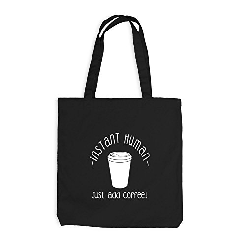 Jutebeutel - Just Coffee Human - Fun Work Office Kaffee Schwarz