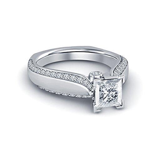 Vorra Fashion Hochzeit/Verlobungsring Solitaire Mit Seite Akzente Ring in Platin vergoldet mit Prinzessin & Rundschliff CZ (Verlobungsring Akzent)