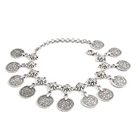 Jane Stone Silver Tone Barefoot Daisy Anklet Chain with Vintage Bohemian Coins Pendant for Women Girls Dancer Accesories