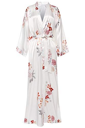 """Material de la túnica de kimono: poliéster; Una talla le queda a la mayoría. Se adapta hasta 56 """"en el pecho y la cadera, Longitud :53"""". Vestido largo kimono de flor de ciruelo estampado de lujo con mangas de corte continuo. Vestido de kimono de esti..."""