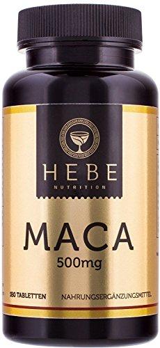 Maca-Wurzel 500 mg 10:1 Extrakt, Vegan, 180 Tabletten, Premium-Qualität von Hebe Nutrition