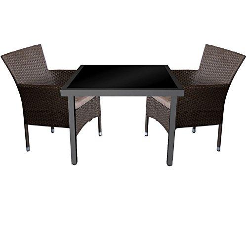 3tlg. Gartengarnitur Aluminium Glastisch 90x90cm mit schwarzer Tischglasplatte + Rattansessel, stapelbar, Polyrattanbespannung, braun-meliert inkl. Sitzkissen
