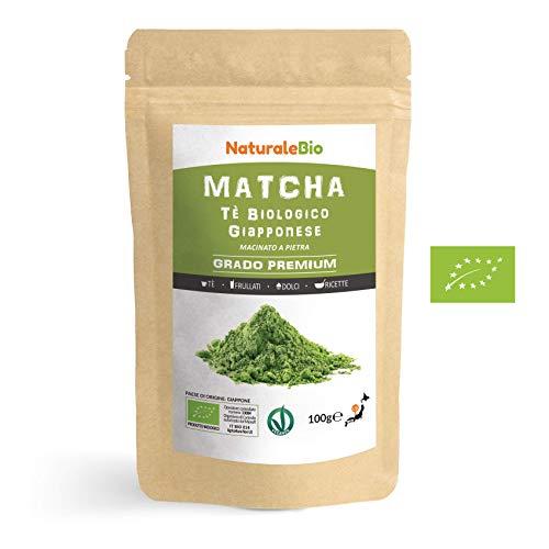 Tè Verde Matcha Biologico in Polvere [ GRADO PREMIUM ] da 100 grammi | The Matcha Prodotto in Giappone Uji, Kyoto | Ideale da Bere, per i Dolci, Frullati, Tè freddo, nel Latte e come ingrediente.