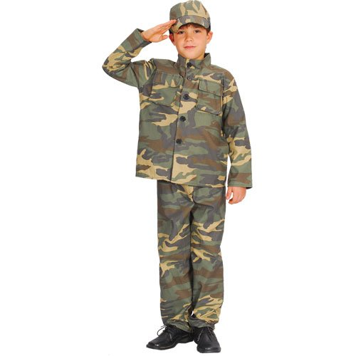 Soldier, Commando Kinderkostüm Medium 5-7 Jahre. Jacke, Hose und Hut. 122cm-134cm (Commando Dress Fancy)
