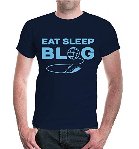 buXsbaum® T-Shirt Eat Sleep Blog Navy-Skyblue