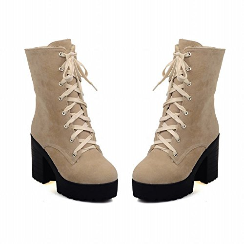 Mee Shoes Damen chunky heels Plateau Nubukleder kurzschaft Stiefel Beige