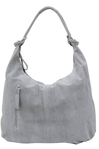 AMBRA Moda Damen Wildleder Handtasche Schultertasche Beutel Hobo Bag Veloursleder Suede WL808 (Grau) (Suede-leder-hobo)