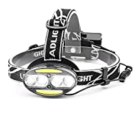 LED Headlamps Rechargeable, Chesbung USB LED Head Torch with 2800mAH Battery, 6 Modes, Cree LED Beads & COB LEDs, Water Resistant, Great for Running, Camping, Hiking & Fishing, USB Cable Included