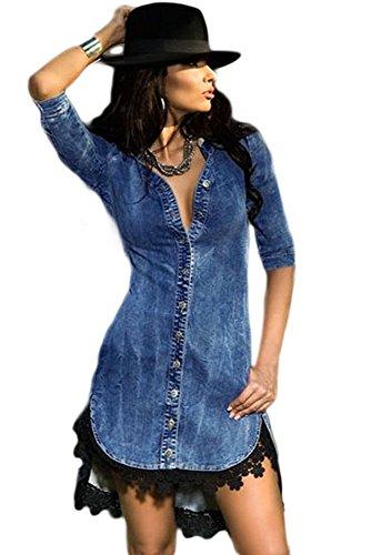 MAX MALL Damen Button Down Denim Hemd mit Spitzenbesatz Ärmel Mini Kleid Jeanshemd (L) (Button-down Denim-kleid)