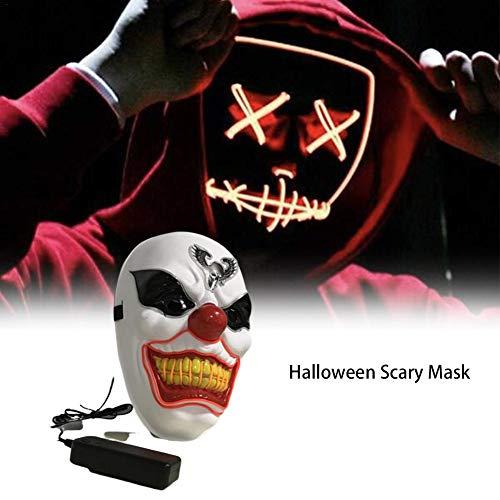 Clown Mask Halloween Scary Für Adult, Herren Gruseliger Haunted House Secret Room Scary Kopf Zauberer Clown Ghost Leuchtende Maske Mit Voice-Activated Drive, Blinkt Im Rhythmus Der Musik