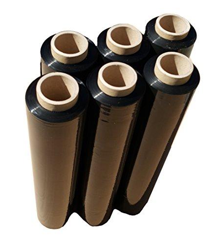 Stretchfolie Schwarz 6 Rolle 23 my Verpackungsfolie 2,4kg Roller Wickelfolie für Paletten Verpackungsfolie für Möbel Palettenfolie Stretchfolienabroller