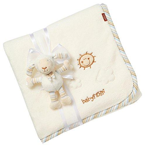 Fehn 396089 Kuscheldecke Schaf – Kuschelige Schmusedecke für Babys und Kleinkinder ab 0+ Monaten - zum Kuschen, als Krabbelunterlage oder Schnuffeltuch, Maße: 100x75cm