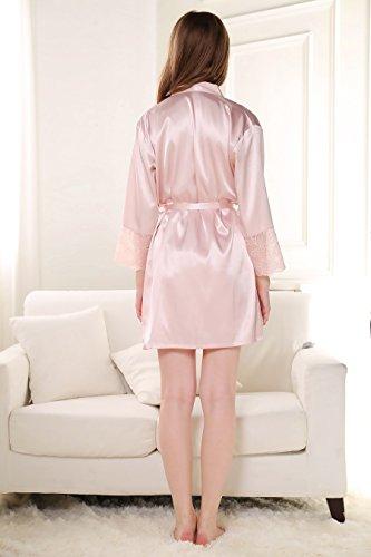 Rainbow Fox Damen Nachtwäsche Nachthemd Hohl Entwurf Satin Nachthemd Light Pink