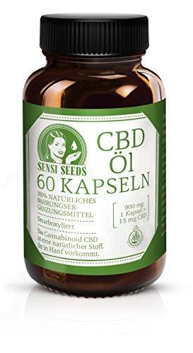 *Sensi Seeds Hanf Öl Kapseln – 900 mg – Vegan und Vegetarisch, Ohne Zusatzstoffe – 60 Magensäure-resistente Kapsel*