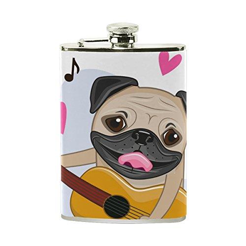 COOSUN Mops-Hund mit Gitarre Trinkflasche mit PU-Leder umwickelt, Edelstahl Leak Proof Alkohol-Hüfte-Flasche, 8 Unzen Mehrfarben -