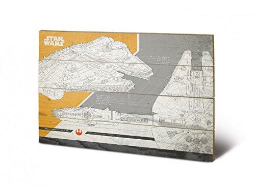 Preisvergleich Produktbild 1art1 108019 Star Wars - Episode VIII Die Letzten Jedi,  Millennium Falcon Plans Poster Auf Holz 60 x 40 cm