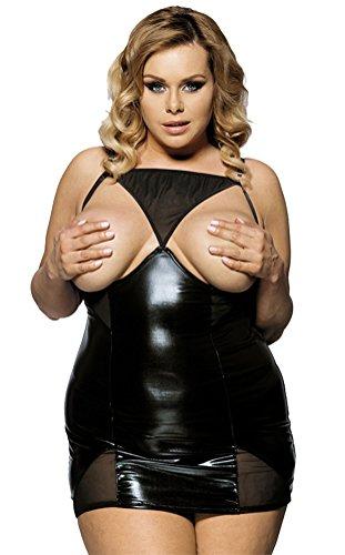 *MarysGift Damen Nachtkleid Wet Look Nachtwäsche Bra Strap Unterwäsche Dessous Negligees Minikleid +T-string für Damen*