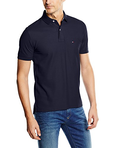 Tommy hilfiger core hilfiger regular polo, blu (sky captain 403), medium uomo