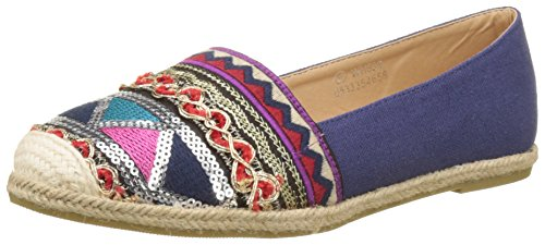 Angkorly Damen Schuhe Espadrilles Mokassin - Slip-on - Sneaker Sohle - Bestickt - Glitzer - Fantasy Flache Ferse Blau 2
