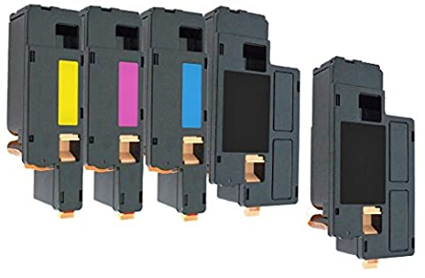 5er Set PREMIUM Toner kompatibel für Dell 1250, 1250c, 1350, 1350cn, 1350cnw, 1355, 1355cn, 1355cnw, C1760, C1760nw, C1765, C1765nf, C1765nfw, C17XX | Schwarz 2.000 Seiten & Color je 1.400 Seiten