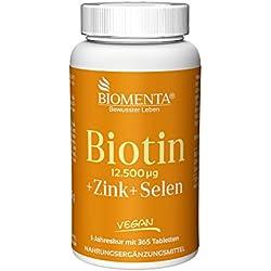 BIOMENTA BIOTIN HOCHDOSIERT 12.500 mcg + ZINK + SELEN   365 Biotin Tabletten VEGAN   Haarwuchsmittel für Bart + Haarwuchs, bei Haarausfall   Anti Pickel Tabletten für unreine Haut   Schöne Nägel