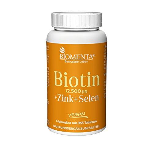 BIOMENTA BIOTIN HOCHDOSIERT 12.500 mcg + ZINK + SELEN | 365 Biotin Tabletten VEGAN | Haarwuchsmittel für Bart + Haarwuchs, bei Haarausfall | Anti Pickel Tabletten für unreine Haut | Schöne Nägel