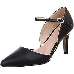Damen Schuhe, 9788-P, PUMPS, HIGH HEELS, Synthetik in hochwertiger Lederoptik , Schwarz, Gr 41