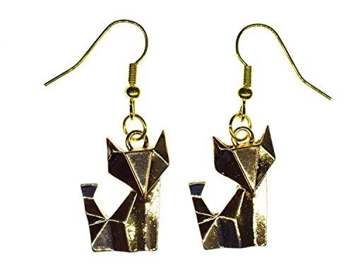 fuchs-ohrringe-ohrring-hanger-miniblings-tier-katzchen-faltkunst-origami-golden