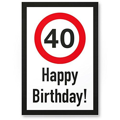 DankeDir! Plaque en Plastique Happy Birthday 40 Ans - Cadeau d'anniversaire 40 Ans - Idée Cadeau d'anniversaire 4 Ans - Décorations d'anniversaire/de fête/fête
