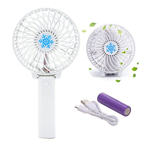 USB Cable Mini Handheld Folding Fan Rechargeable Battery Foldable Portable Electric Table Desk Fan Personal Cooling Conditioner for Outdoor Indoor Office Tabletop Home Room Travelling Sports (White) (Handheld Mini Fan)