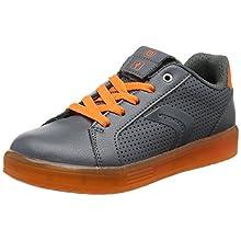 Geox Jungen J KOMMODOR Boy B Sneaker, Grau (Dk Grey/Orange), 36 EU