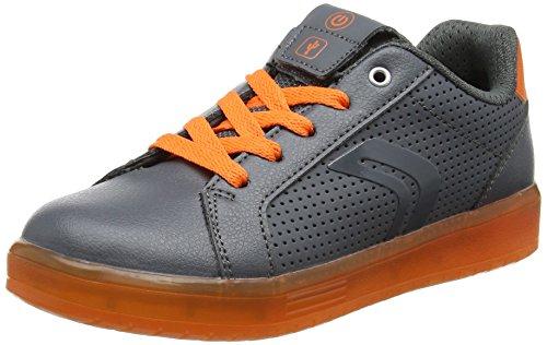 Geox J Kommodor B, Scarpe da Ginnastica Basse Bambino, Grigio (Dk Grey/Orange), 39 EU