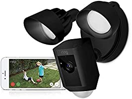 Ring Floodlight Cam - WiFi Smart Home Security Camera Black - Wired - Led lights - Two way talk - Full HD live video -...