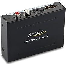 Amanka HDMI Audio Extractor HDMI a HDMI + SPDIF/Toslink +RCA L/R Audio Convertidor Adaptador Óptica Fibra Salida con 5V/DC Adaptador hasta 1080p para Apple TV Blu-ray Reproductor Xbox One