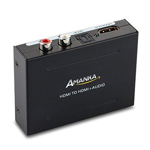 Amanka HDMI Audio Extractor HDMI a HDMI + SPDIF/Toslink +RCA L/R Audio Convertidor Adaptador Óptica Fibra Salida con 5V/DC Adaptador hasta 1080p para TV BLU-Ray Reproductor Xbox One